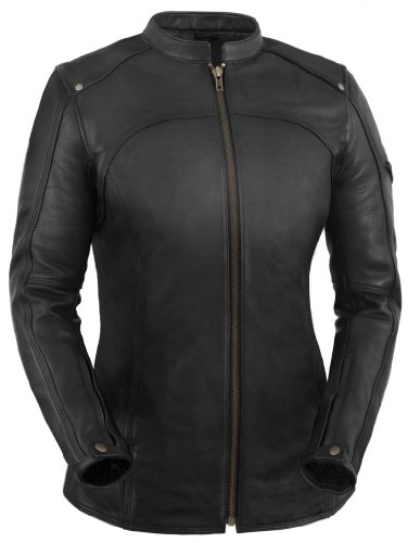True Element Womens Longer Length Scooter Collar Leather Motorcycle Jacket (Black, Size 2XL)