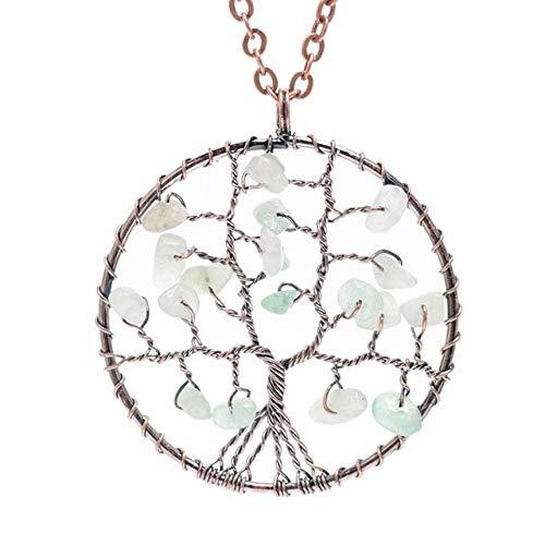 FEELHH Collar Largo Colgante De Cristal,Handmade Árbol Verde De La Vida De Las Mujeres 7 Chakra Cuarzo Claro Ramificada Jewlery Regalos Boda