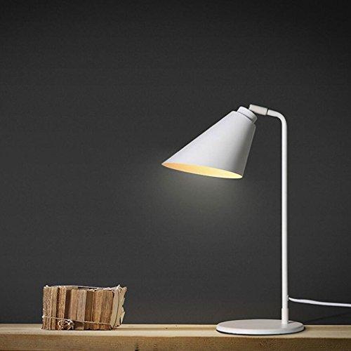 Lampe de table de fer lampe de chevet chambre de salon lampe de table d'hôtel lampe de bureau simple moderne blanc d'apprentissage de l'oeil, E27