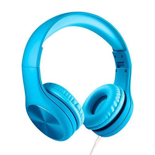 New! LilGadgets Connect+ PRO Kids Premium Volume Limited Wired Headphones with SharePort and Inline Microphone for Children (Blue)