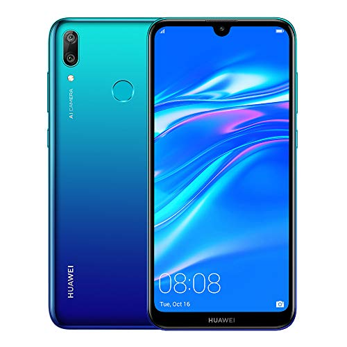"Huawei Y7 2019 (32GB, 3GB) 6.26"" Dewdrop Display, 4000 mAh Battery, 4G LTE GSM Dual SIM Factory Unlocked Smartphone (Dub-LX3) - International Version, No Warranty (Blue)"