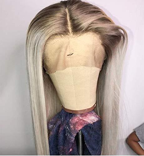 VEBONNY Ombre Platinum Blonde Lace Front Perücken mit braunen Wurzeln 613 Perücke Synthetisches Haar 22 Zoll Silky Straight Glueless Perücken VEBONNY-036-NEW