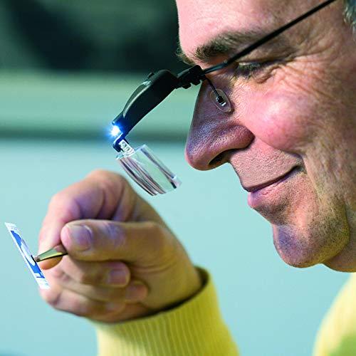 Leuchtturm 300142 Gafas lupa con LED, incluye 3 lupas diferentes acoplables (1,5x, 2,5x y 3,5x)