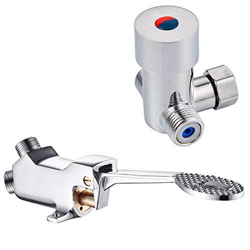 LukLoy - Valvola a pedale per acqua fredda e calda, per rubinetti a piede libero (valvola a freddo e acqua calda A) (valvola per acqua calda e fredda A)