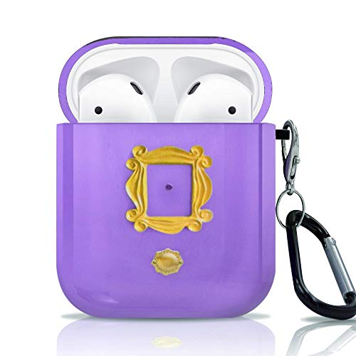 BrilliantCustoms New Case with Keychain for Apple AirPods 1 & 2 Friends TV Show Purple Door Gold Frame Peephole 2 Piece AirPods Case Cover
