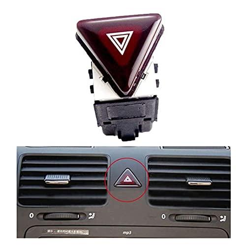 SHOUNAO Red Hazard Advertencia Interruptor de Flash Botón Interruptor de Emergencia Ajuste para Jetta Golf Rabbit Mk5 2004-2011 (Color : Black Red)
