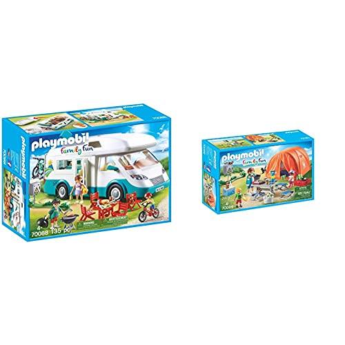 PLAYMOBIL Family Fun Caravana De Verano, A Partir De 4 Años (70088) + Family Fun 70089 Tienda De Campaña, A Partir De 4 Años