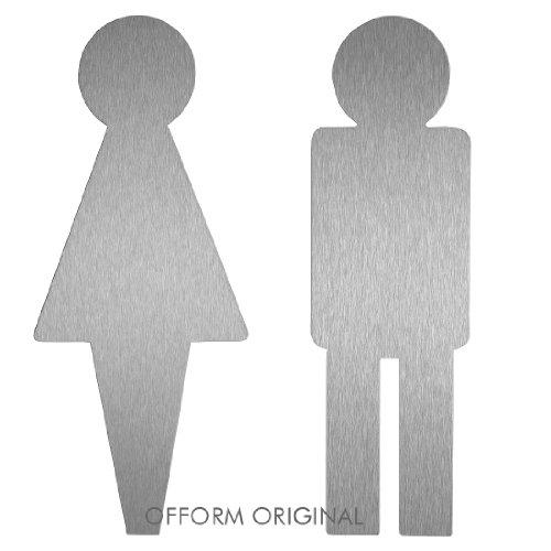 Türschild Set Frau-Mann   Edelstahlschilder Contour   Toiletten-Piktogramme   H=160 mm   selbstklebend   Originale aus der Ofform Schilder-Kollektion   Nr.1102