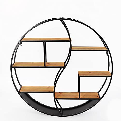 Estantería de pared redonda de 80 cm, de metal, para libros, hierro y madera, decorativa para flores, montaje en pared
