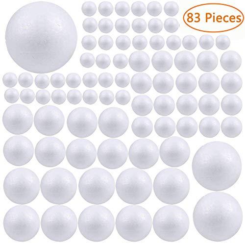 【Tamaño perfecto】Paquete de 83 bolas de poliestireno para manualidades, 6 tamaños de esferas de poliestireno sólido -- 1/8 cm (3,2 pulgadas), 2/6 cm (2,4 pulgadas), 10/5 cm (2 pulgadas), 10/4 cm (1,6 pulgadas), 20/3 cm (1,2 pulgadas), y 40/2 cm (0,5 ...