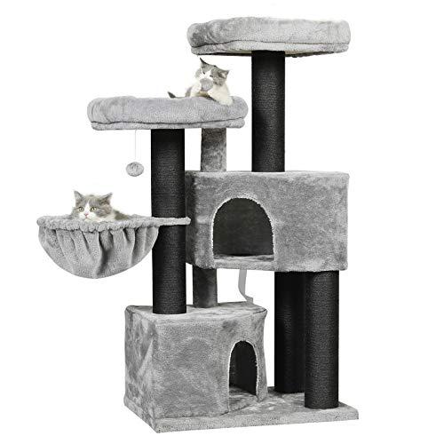 MSmask Kratzbaum groß XXL, Katzenbaum für Grosse Katzen stabil mit groß Sisal-Kratzstangen, 2 großer Aussichtsplattform (Grau + Schwarz Sisalstämme)