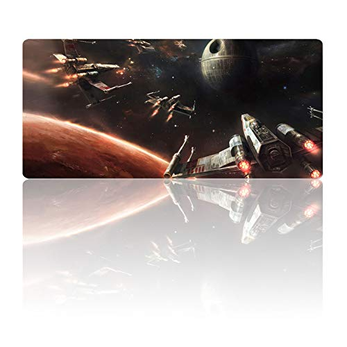 Gaming Mouse Pad Death Star X-Wing Galaxy Planet,Laptop Desk Pad,Mousepad with Stitched Edge Frame & Anti-Skid Rubber Base,Computer Keyboard and Mice Pads Mouse Mat 23.6X11.8