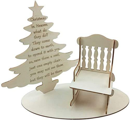 JJDSN 2 uds, Decoracin de Mesa de Madera de Navidad, Silla de rbol de Navidad de Madera, Muebles de casa de muecas, Adorno de decoracin para Tienda, Fiesta, Dormitorio, decoracin del hogar