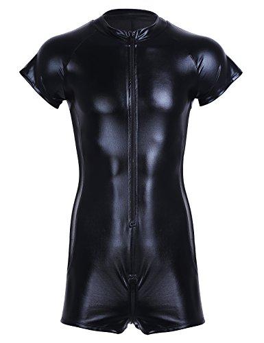 CHICTRY Lenceria Hombre Sexy Latex Conjunto Ropa Erotica Una Pieza Leotardo de Charol para Hombre Clubwear Negro M