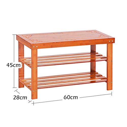 GWF Holzschuh Rack Sitzbank für Eingangshalle Tür Enterway 2-Tier-Speicher Regal Veranstalter kleinen Schrank PlatzsParender Schuhschrank (größe : 60cm)