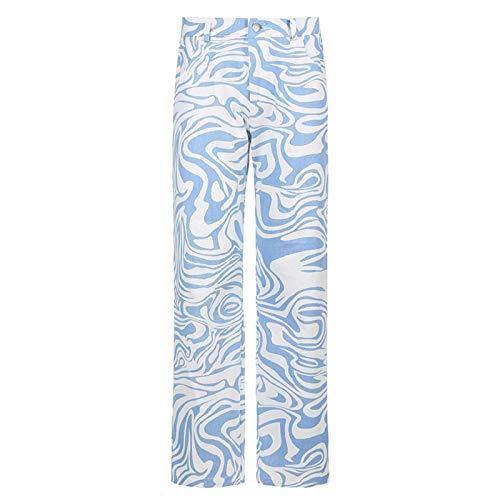 Pantalones Casuales de Cintura Alta con Estampado de Cebra, Pantalones Largos Ajustados a la Moda para Mujer, Pantalones de chándal Rectos Azules para Mujer, Ropa de Calle