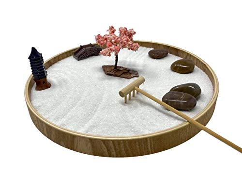 Desk Zen Garden – Office Garden – Mini Rock Garden with Sand – Wooden Base, Meditation Statue and Bamboo Rake – Peaceful Japanese Sand Garden – Meditation Garden Kit - Blossom Tree