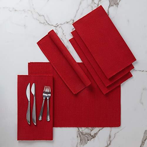 Encasa Homes Manteles Individuales (Set of 6 pcs) Hechos de Fino algodón Acanalado - Tamaño 48x33 cm, Colores y diseños, Uso en el hogar, Restaurantes - Rojo sólido