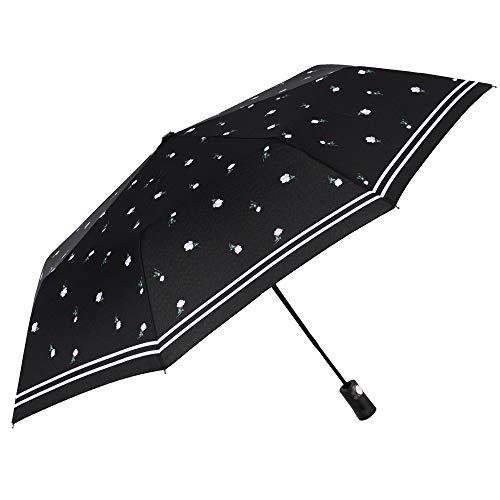 Paraguas Plegable Mujer Antiviento Negro Liso con Flores y Borde Rayado Blancos...