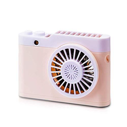 Lievevt USB Handheld Fan Ventilador de cámara Luz Nocturna Aromaterapia Luz Nocturna Cuello Portátil USB Acoplamiento Carga Viaje Lazy Essential (Color:Gris) (Color : Pink)