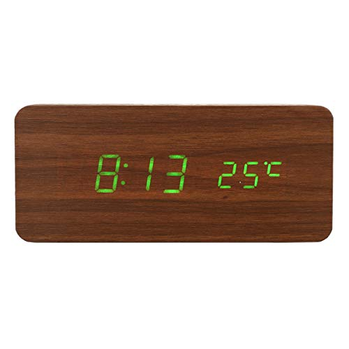 Meijin Electrical Equipment USB Sound Control Wooden Qi Wireless Phone Charger Dock Digital LED Alarm Clock (Color : D)