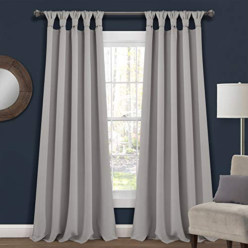 """Lush Decor, Light Gray Insulated Knotted Tab Top Blackout Window Curtain Panel Pair, 95"""" x 52"""""""