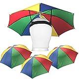 Playko 20 Inch Umbrella Hats - Pack of 4 Hands Free Umbrellas - Beach Party Umbrella Hats for Adults, Kids - Adjustable Umbrella Headband Hat - Fun Rainbow Umbrella Hats – Fits All Ages