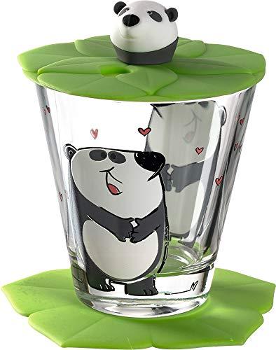 Leonardo Bambini Kinderglas, 3 teilig, Kinder-Becher aus Glas mit Tier-Motiv Panda, Deckel und Untersetzer, spülmaschinengeeignet, 215 ml, 034799