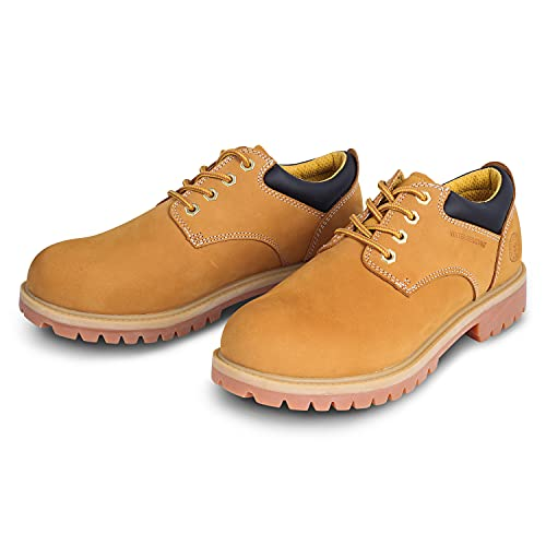 Jacata Men's Water Resistant Low Top Work Shoes Rubber Sole Construction Oil Resistant Utility Work Boots(Wheat,Size 8.5)