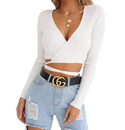 Damen Sexy V-Neck Langarm Kurz Tops Pulli Blouse Oberteile mit Bandagen Modern Jumper Sweater T-Shirt mit Frühling und Herbst, S, Weiß
