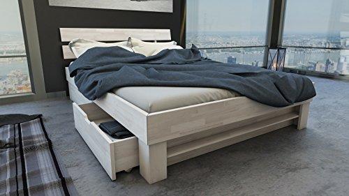 SAM® Massiv-Holzbett Julia mit Bettkästen in Buche weiß, 160 x 200 cm, Bett mit geteiltem Kopfteil, natürliche Maserung, massive widerstandsfähige Oberfläche in edlem Weißton - 2
