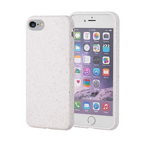 Brand.it - Eco iPhone 7 & 8 Hülle I biologisch abbaubar & kompostierbar I Bio Handyhülle aus Recycle Material I nachhaltig & umweltfre&lich I aus PLA Bambus, Creme Weiß