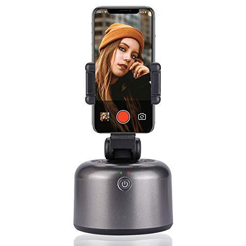 Gimbal Movil Seguimiento de Objetos Faciales, Soporte para Teléfono, Rotación de 360 °, Disparo Automático para Selfies, Video, Toma de Fotos, 1 Pieza (Gris)