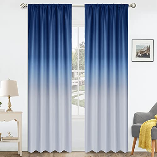 COSVIYA Rod Pocket Ombre Room Darkening Curtains 96 inch Long, Gradient Drapes Blue and Grayish White Light Blocking Insulated Thermal Window Curtains for Bedroom/Living Room,2 Panels,52x96 inches