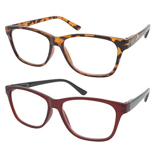 TBOC Gafas de Lectura Presbicia Vista Cansada - (Pack 2 Unidades) Graduadas +2.00 Dioptrías Montura de Pasta [Carey + Burdeos] de Diseño Moda Hombre Mujer Unisex Lentes de Aumento Leer Ver de Cerca