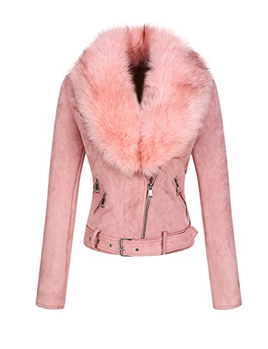 Bellivera Women's Faux Suede Short Jacket, Moto Jacket with Detachable Faux Fur Collar Pink Large