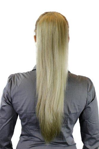 Postiche: Couette/queue de cheval volumineuse mais lisse, nouvelle attache avec mini pince papillon, blond, 65 cm WK06-234