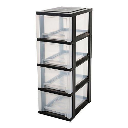 IRIS, Schubladenschrank / Schubladenbox / Rollwagen / Rollcontainer / Werkzeugschrank 'Smart Drawer Chest', SDC-304, mit Rollen, Kunststoff, schwarz / transparent