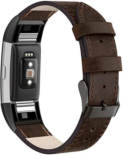 SWEES Leather Bands Compatible with Fitbit Charge 2 Genuine Leather Replacement Large 6 4 8 product image