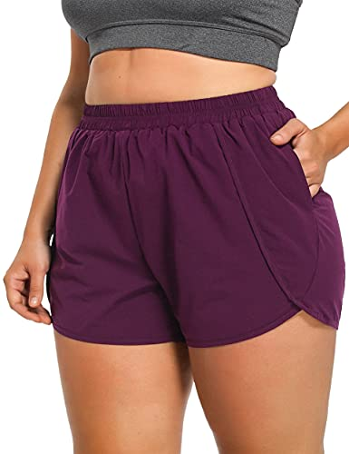 Lafaris 4X Womens Plus Size Shorts,Ladies Summer Workout Sports Athletic Running Gym Walking Yoga Hiking Exercise Golf Basketball Lounge Clothes with Pockets and Liner Carminum Red