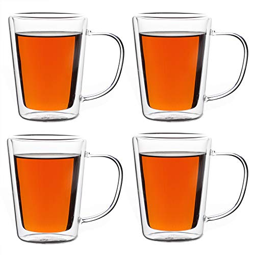 Monzana 4 x Thermogläser Teegläser doppelwandig aus Glas mit Henkel isoliert 250 ml Borosilikatglas Teetassen Gläser Set