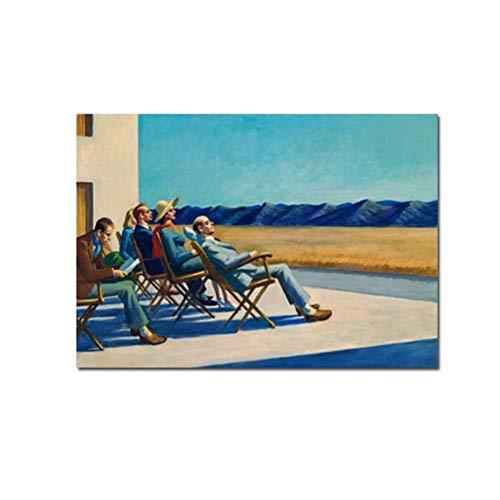 nr Edward Hopper Menschen in der Sonne Leinwand Malerei Druck Wohnzimmer Home Decoration Moderne Wandkunst Gemälde -50x70cm Rahmenlos