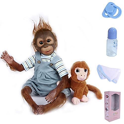 ZIYIUI Monkey Doll Reborn Boy 21inch 52cm Really Lifelike Chimpanzee Reborn Babies Handemade Soft Silicone Vinyl Realistic Looking Cute Baby Dolls Toddler Girl Toy Xmas Present