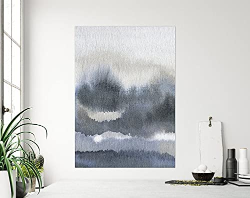 AZSTEEL Stormy Grey Black Mountain Forest Coastal Watercolour Painting On Fine Art Paper, Abstract Moody Cloudy Nature Wall Art Print On Cotton