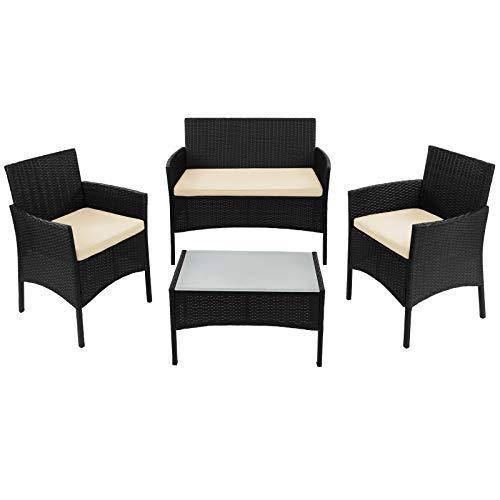 BB Sport 7-teilige Polyrattan Sitzgruppe für 4 Personen inkl. Sitzpolster und Tisch Balkonmöbel Set Sitzgarnitur, Farbe:Titan-Schwarz/Sandstrand