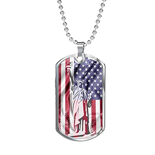 Express Your Love Gifts US Flag Distressed with Estatua of Liberty Necklace Stainless Steel Oro 18k Dog Tag w 24' Cadena