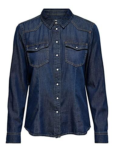 Only ONLROCK IT Life DNM LS Shirt Noos Camisa, Dark Azul Denim, M para Mujer