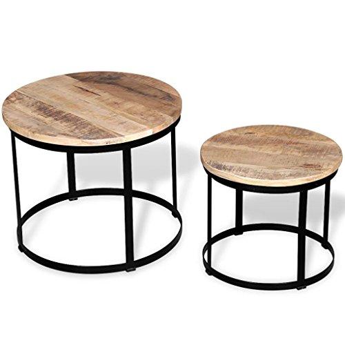 Lingjiushopping Set de Table Basse 2 unités Ronde Bois de Manche 40 cm/50 cm Dimensions Grand (Table) : 50 x 41 cm (di ¨ Metro X Hauteur) Couleur : MARR ¨ n Noir