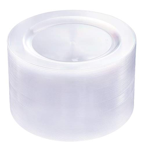 BUCLA 100Pieces Clear Plastic Plates -10.25inch Disposable Dinner Plates-- Premium Weddings& Party Plates