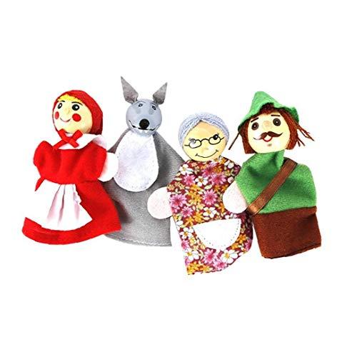 Uayasily 4pcs/set Little Red Riding Hood Christmas Animal Finger Puppet Toy Educational Toys Storytelling Cartoon Finger Puppets for Kids Cute Soft Animal Finger Puppets Baby Story Time